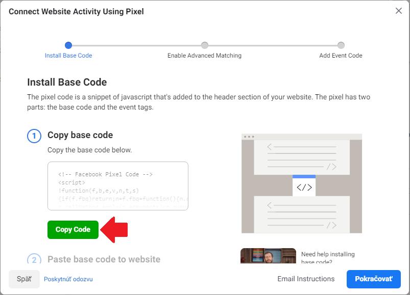 Skopírovanie Facebook pixelu v business manager.