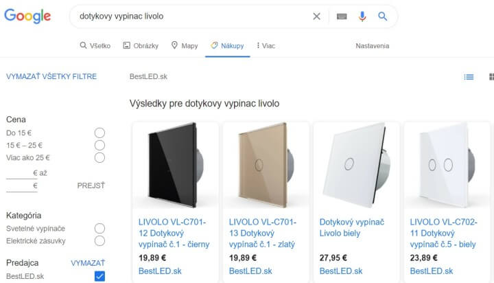 Ukážka online reklamy Google Shopping e-shopu Bestled.