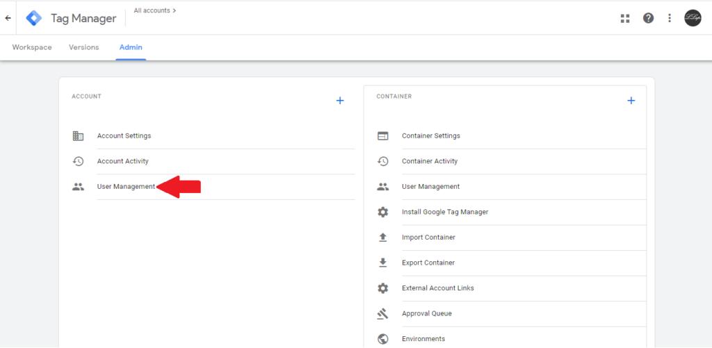 Pridanie admina v Google Tag manager.