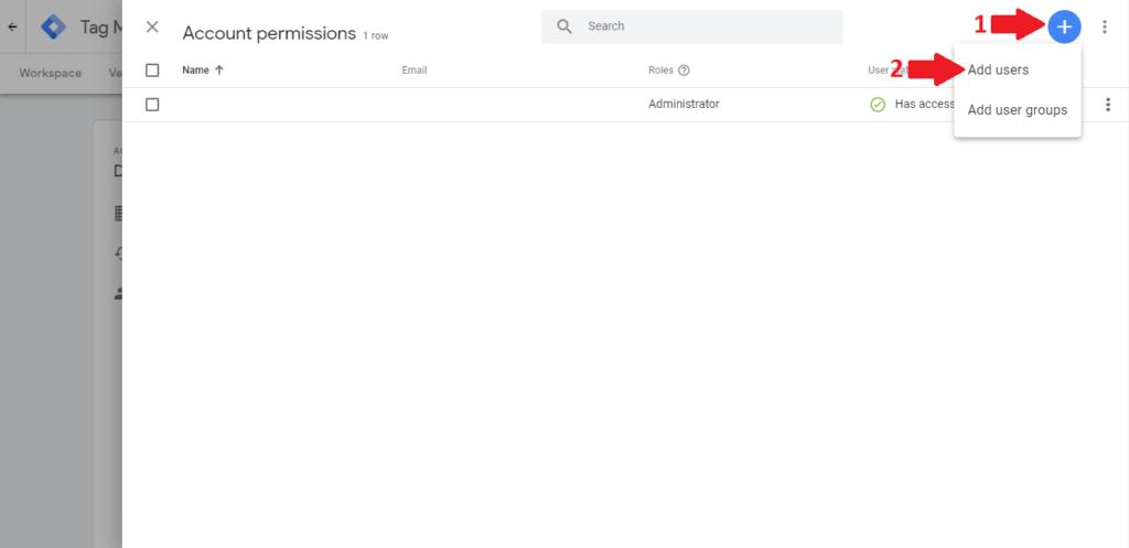 Povolenia k účtu Google Tag Manager.