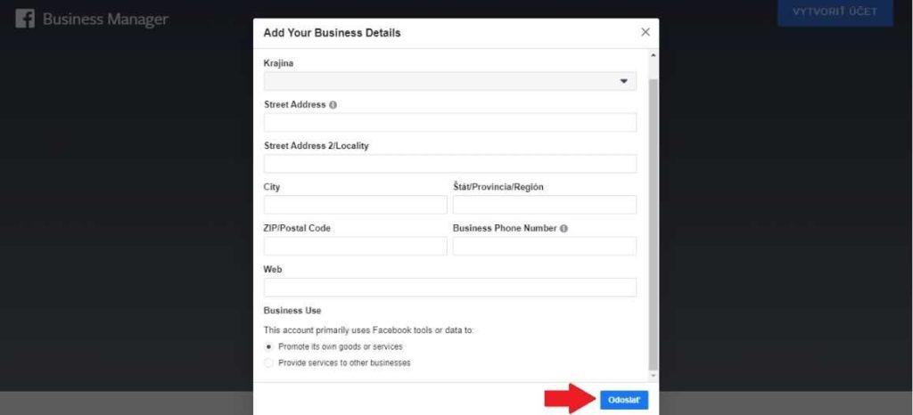 Vyplnenie údajov o firme pri založení účtu Facebook business manager.