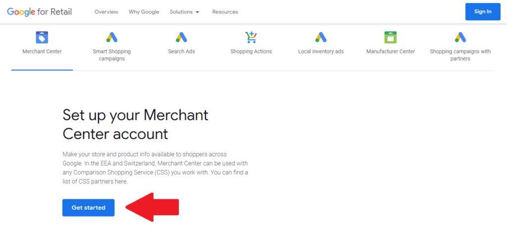 Druhý krok pri vytvorení účtu Google merchant center.