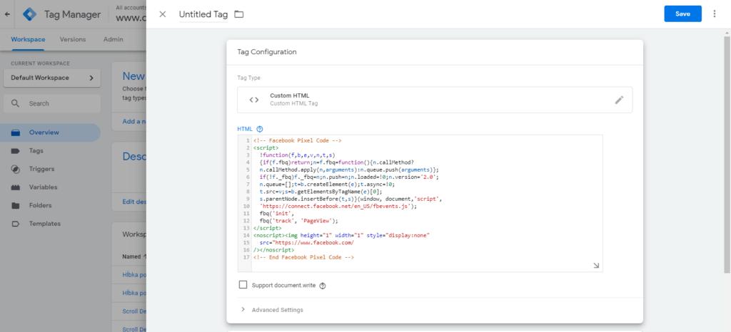 Vloženie pixel kódu do poľa HTML v účte Google Tag Manager.