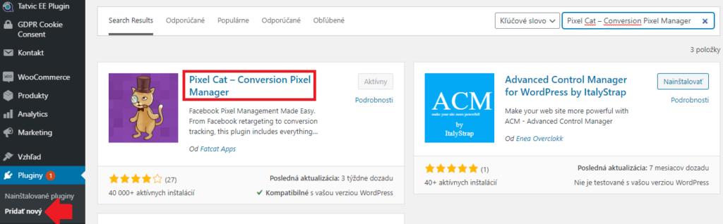 Inštalácia pluginu vo wrdpress pre facebook pixel.