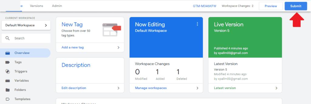 Potvrdenie zmien v Google Tag manager.