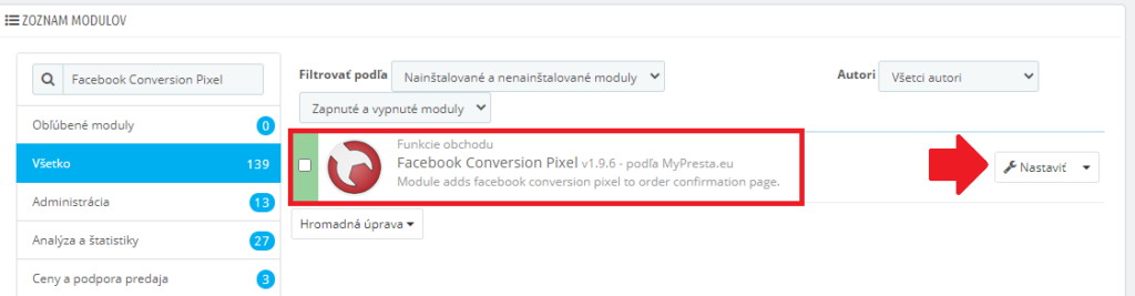 Vloženie Facebook pixelu na prestashop.