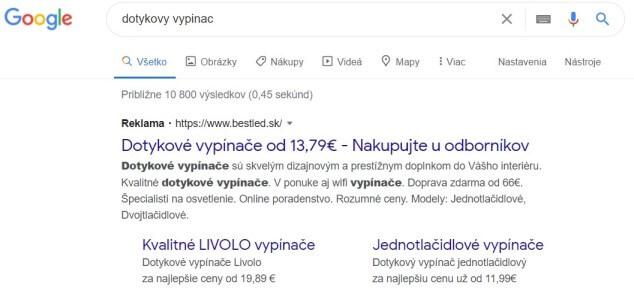 Google textová reklama e-shopu bestled