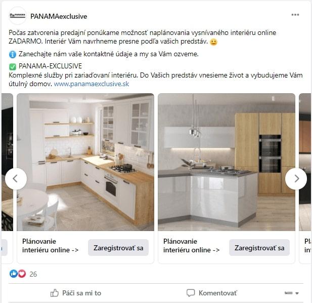 Ukážka online reklamy na Facebooku vo formáte karusel.